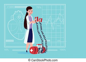 Female Doctor Hold Defibrillator Medical Clinics Worker...