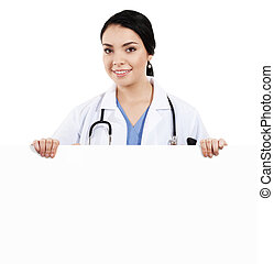 Female doctor holding blank sign