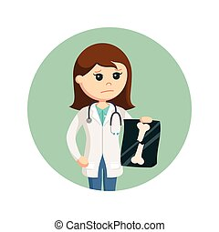 female doctor holding broken bone x-ray in circle background