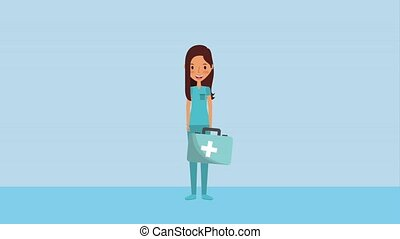 female doctor holding first aid kit medical ilustration