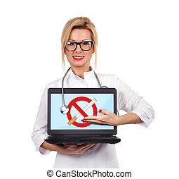stop smoking - female doctor holding laptop with stop ...