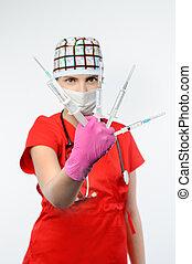 Girl injection syringe medical intervention
