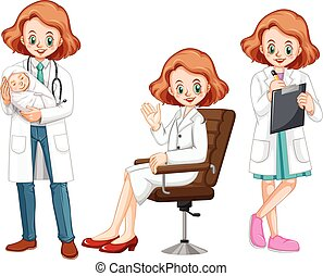 Female doctor in different actions illustration