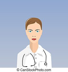 female doctor in lab coat on white background