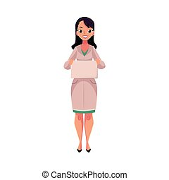 Female doctor in medical coat holding blank sign for text