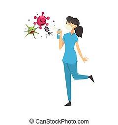 Female doctor in medical mask kills viruses with balloon cartoon vector illustration