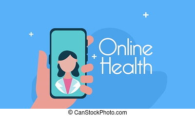 female doctor in smartphone with telemedicine application