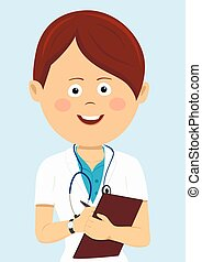 Female doctor in uniform with clipboard and stethoscope writting isolated on blue background