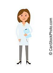 Female doctor in white coat isolated vector