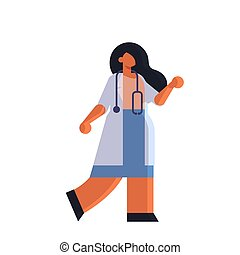 female doctor in white coat standing pose medicine healthcare concept hospital medical clinic worker with stethoscope full length white background flat vector illustration