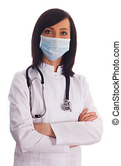 Female doctor isolated on the white background