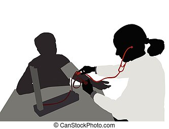female doctor measuring patients blood pressure silhouette - vector