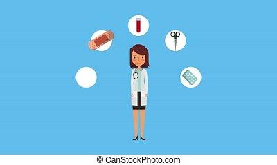 female doctor medical supplies health ilustration