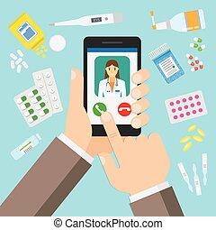 female doctor on mobile application.