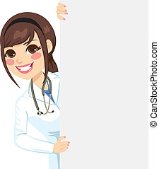 Female Doctor Peeking - Beautiful happy professional female...