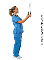 Female doctor reviewing patient's x-ray report