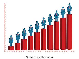 Female Doctor Rise Bar Chart Illustration in Vector