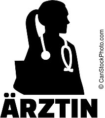 Female doctor silhouette with german job title