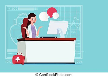 Female Doctor Sitting At Computer Online Consultation Medical Clinics Worker Hospital