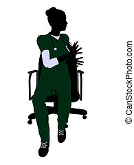 Female Doctor Sitting On A Chair Illustration Silhouette -...