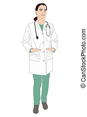 female doctor standing illustration