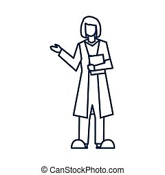 female doctor standing, medical staff , line style icon