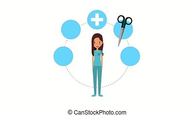 female doctor surgeon and medical supplies health...