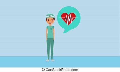 female doctor surgeon heartbeat in speech bubble ilustration