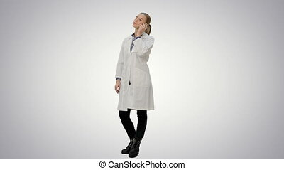 Female doctor talk via cell phone with patient reporting good news on white background.