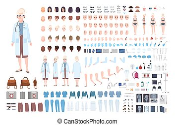 Female doctor, therapist or surgeon DIY kit. Bundle of woman's body parts, uniform, medical tools and equipment isolated on white background. Front, side and back views. Cartoon vector illustration.