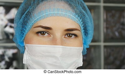 Female doctor wearing a mask