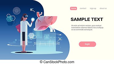 female doctor wearing digital glasses touching virtual reality liver human organ anatomy medical vr headset vision concept full length horizontal copy space