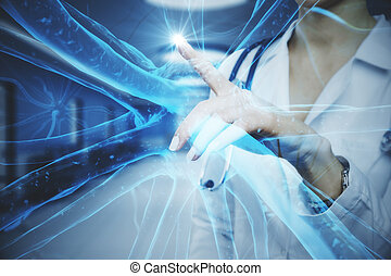 Female doctor with abstract glowing blue medical nerve interface