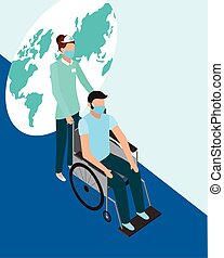 female doctor with face mask with patient in wheelchair