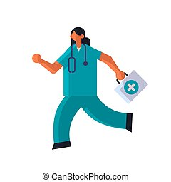 female doctor with first aid kit running to help medicine healthcare ambulance concept woman medical clinic worker with stethoscope in uniform full length flat vector illustration