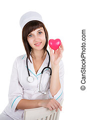 female doctor with heart isolated on a white background