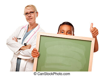 Female Doctor with Hispanic Child Holding Chalk Board