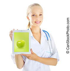 Female doctor with tablet pc isolated on white