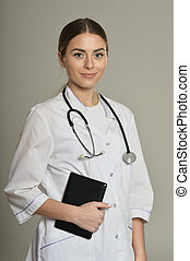 doctor with tablet pc