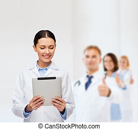 female doctor without stethoscope and tablet pc