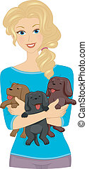 Illustration Featuring a Girl Carrying Puppies in Her Arms