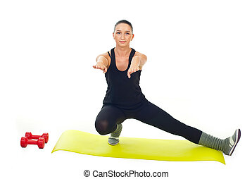 Female doing fitness exercise