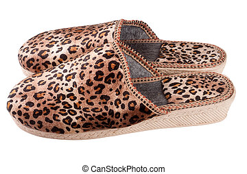 female domestic leopard slippers isolated on white background