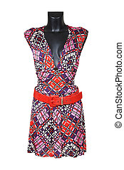 dress for summer - Female dress for summer with a red belt