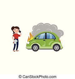 Female driver calling for help after car accident, burning car, car insurance cartoon vector Illustration