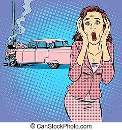 Female driver car accident pop art retro style. The young...