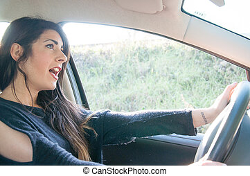 female driver in a bad situation - female driver that drive...