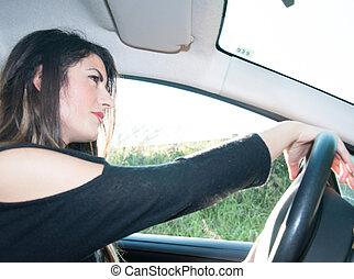 female driver that drive his car