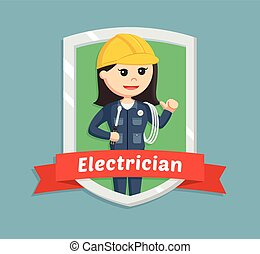 female electrician in emblem