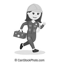 Female electrician running illustration design